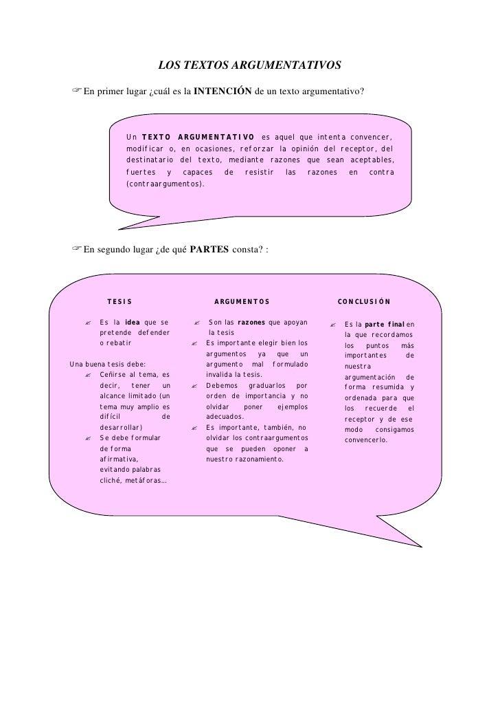 LOS TEXTOS ARGUMENTATIVOS  ? En primer lugar ¿cuál es la INTENCIÓN de un texto argumentativo?                  Un TEXTO AR...
