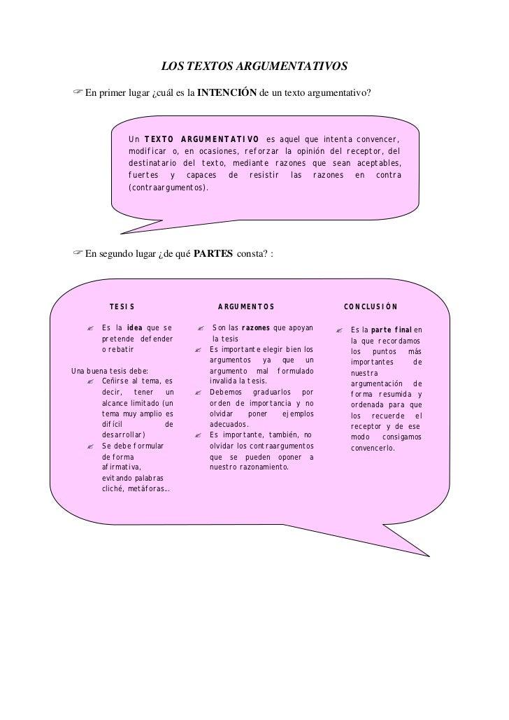 LOS TEXTOS ARGUMENTATIVOS? En primer lugar ¿cuál es la INTENCIÓN de un texto argumentativo?               Un TEXTO ARGUMEN...