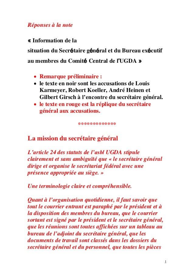 1 Réponses à la note « Information de la situation du Secrétaire général et du Bureau exécutif au membres du Comité Centra...