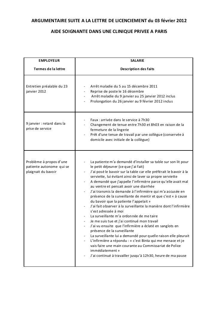 ARGUMENTAIRE SUITE A LA LETTRE DE LICENCIEMENT du 03 février 2012                AIDE SOIGNANTE DANS UNE CLINIQUE PRIVEE A...