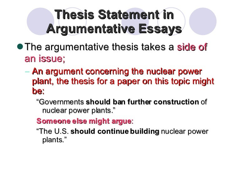 Examples of argumentative thesis statements