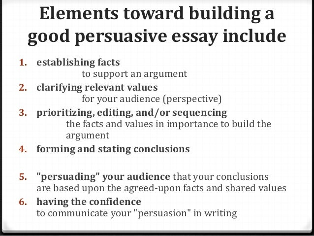 features of a persuasive essay Four types of essay: expository, persuasive, analytical, argumentative for our academic writing purposes we will focus on four types of essay 1) the expository essay.