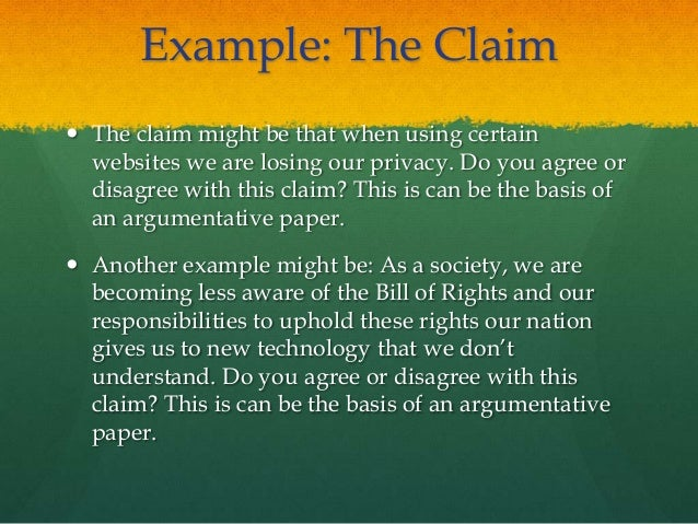Claim in essay example