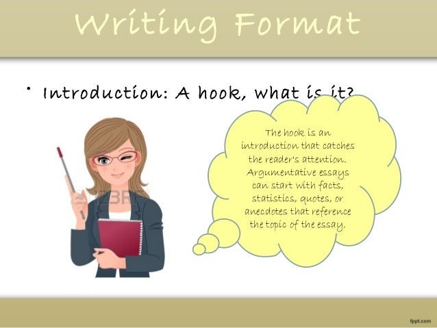 how to write a hook for a persuasive essay Persuasive writing tries to convince the reader that a point of view is valid or that he should take a specific action it requires a debatable topic with opposing points of view the writer supports his position with facts, logical reasoning and examples in order to write an effective persuasive essay, you need to.