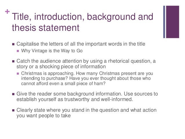 Intorductory paragraph for an argumentative essay