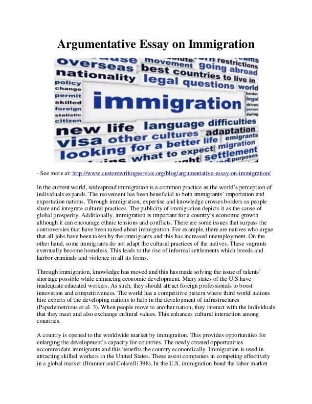 Argumentative essays on immigration