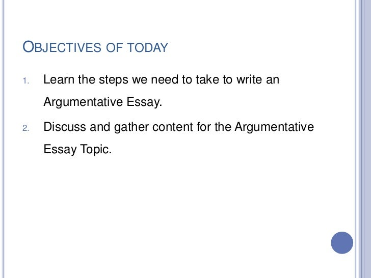 the steps to writing an argumentative essay Persuasive essay helps you to persuade your reader of various issues, including political, ethical, religious, social and a number of others by writing persuasive essays you learn to find arguments to convince your readers, which is a skill necessary in real life.