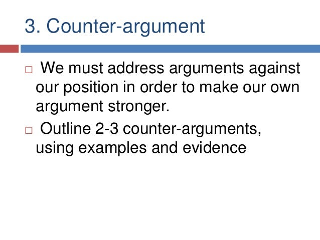 counter arguments essay When you write an academic essay, you make an argument: you propose a thesis and offer some reasoning, using evidence, that suggests why the thesis is true when you counter-argue, you consider a possible argument against your thesis or some aspect of your reasoning this is a good way to test your ideas when drafting, while you still have time.