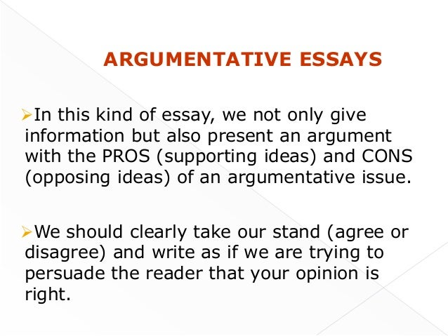 When do you give the oppositions view in an essay
