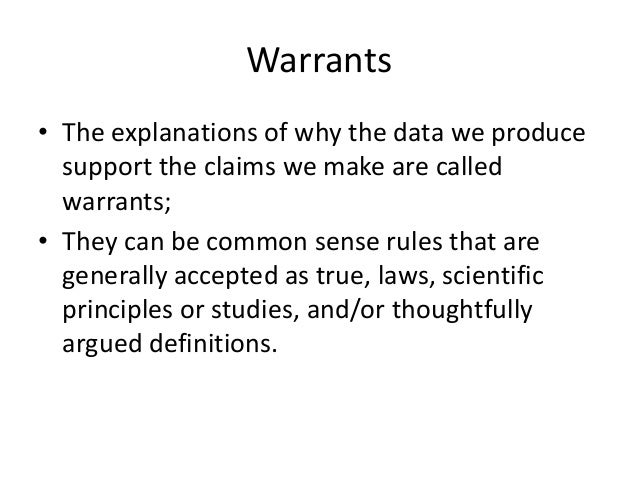 What is a warrant in an argument essay