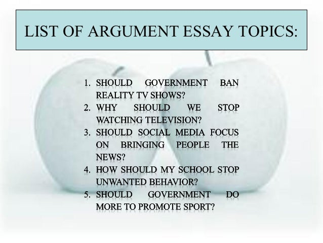 Good argument essay questions