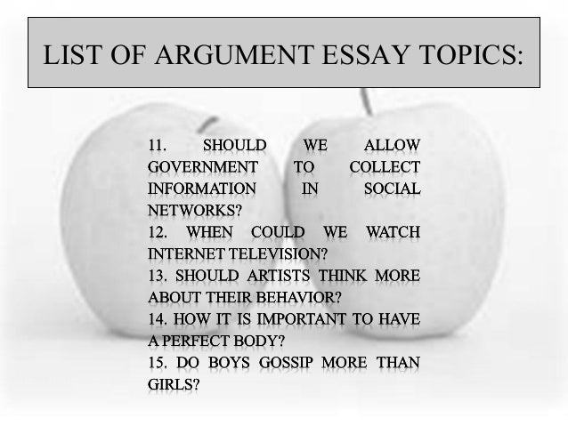 List of argumentive essay
