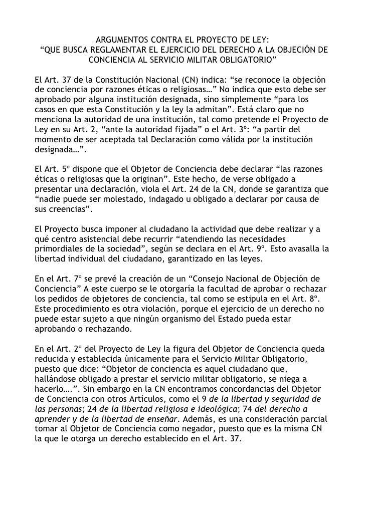 """ARGUMENTOS CONTRA EL PROYECTO DE LEY:  """"QUE BUSCA REGLAMENTAR EL EJERCICIO DEL DERECHO A LA OBJECIÓN DE            CONCIEN..."""