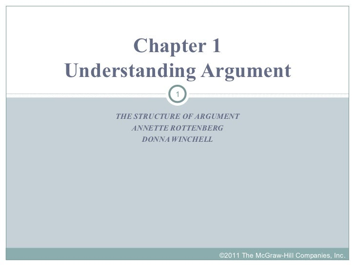 THE STRUCTURE OF ARGUMENT ANNETTE ROTTENBERG DONNA WINCHELL Chapter 1 Understanding Argument