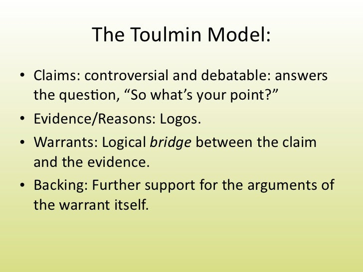 toulmin model essay - Toulmin Analysis Essay Example