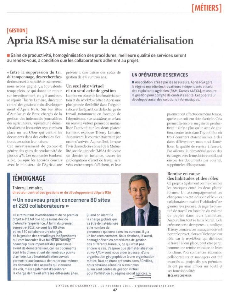 """Argus de l'assurance - Témoignage Thierry Lemaire """"APRIA RSA mise sur la dématérialisation"""""""