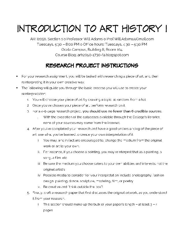 INTRODUCTION TO ART HISTORY I RESEARCH PROJECT INSTRUCTIONS  