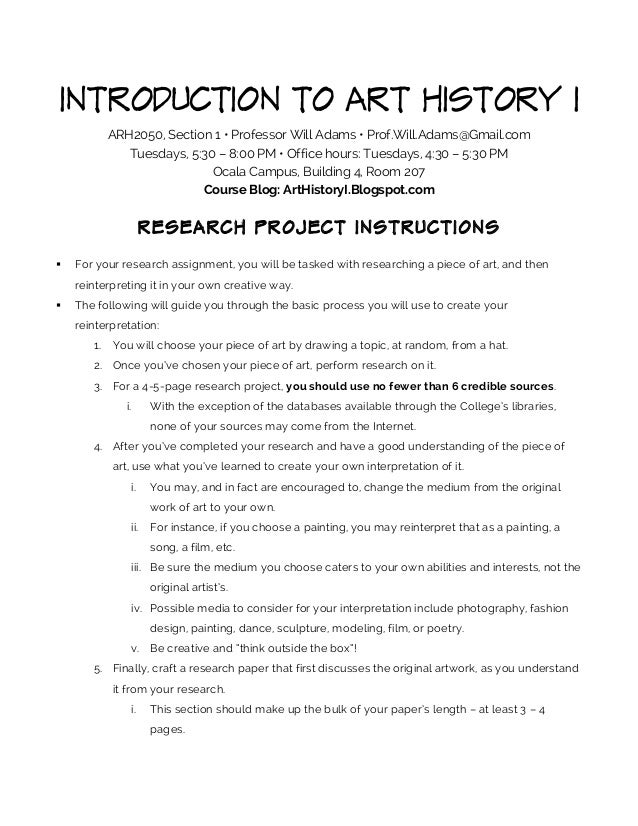 Arh2050 1745 research project instructions