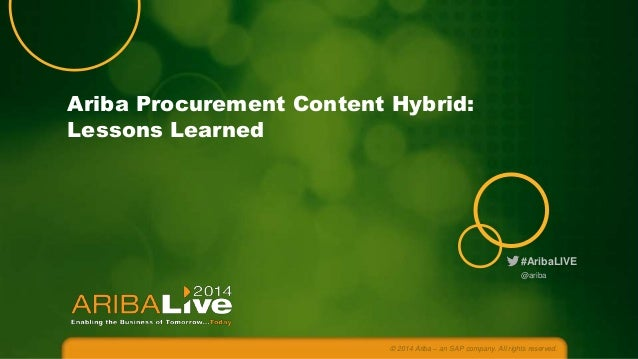 #AribaLIVE Ariba Procurement Content Hybrid: Lessons Learned © 2014 Ariba – an SAP company. All rights reserved. @ariba