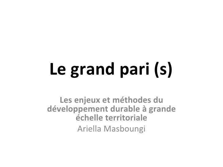 Le grand pari (s)   Les enjeux et méthodes dudéveloppement durable à grande       échelle territoriale        Ariella Masb...