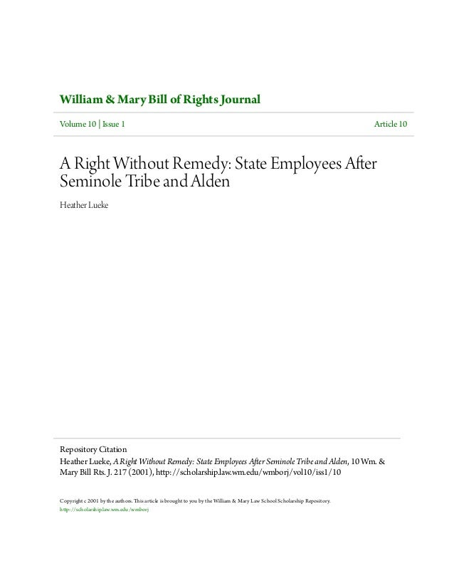 William & Mary Bill of Rights Journal Volume 10 | Issue 1 Article 10 A Right Without Remedy: State Employees After Seminol...