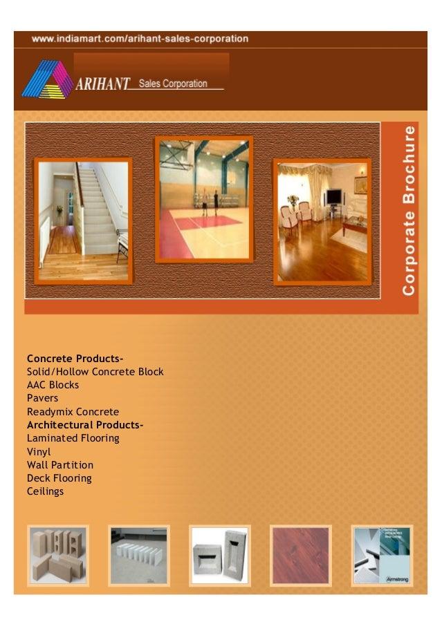 Concrete Products-Solid/Hollow Concrete BlockAAC BlocksPaversReadymix ConcreteArchitectural Products-Laminated FlooringVin...