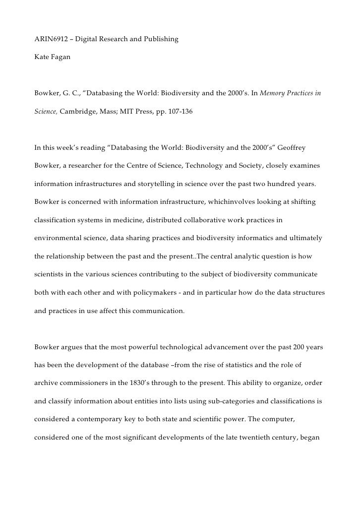 "ARIN6912 – Digital Research and Publishing <br />Kate Fagan<br />Bowker, G. C., ""Databasing the World: Biodiversity and th..."