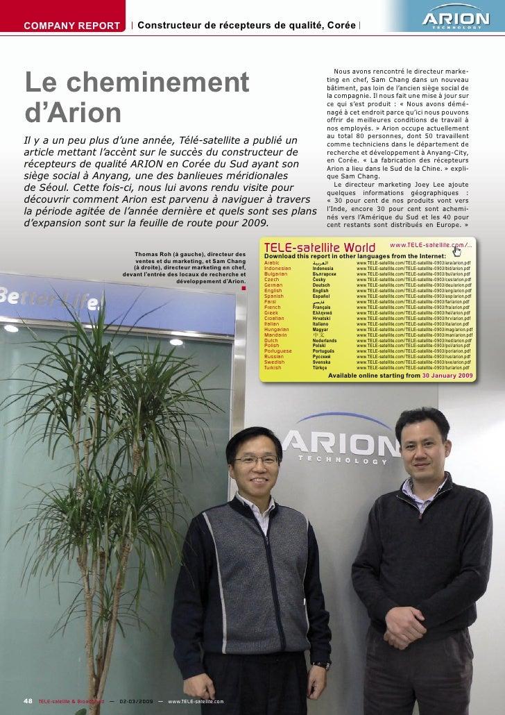 COMPANY REPORT                        Constructeur de récepteurs de qualité, Corée     Le cheminement                     ...