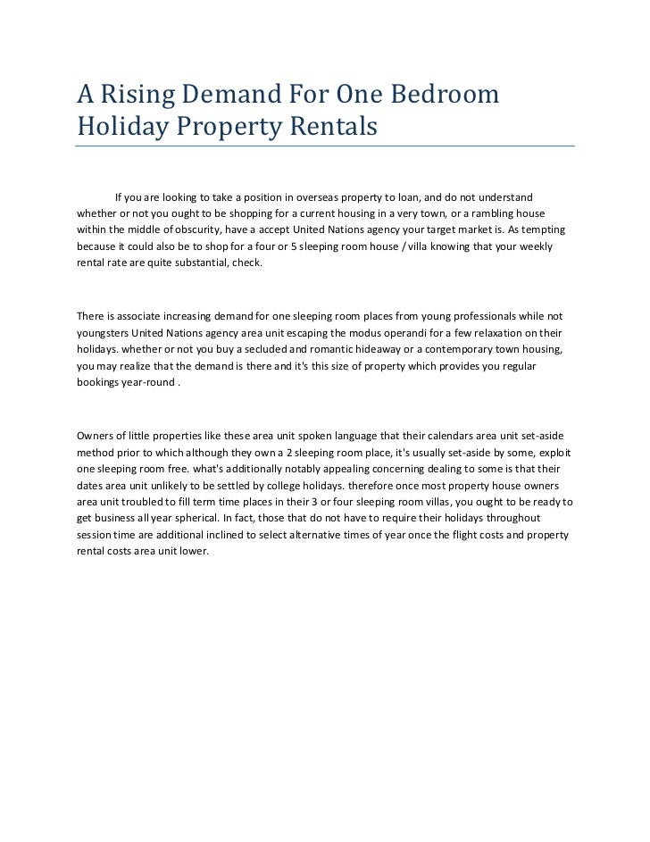 A rising demand_for_one_bedroom_holiday_property_rentals