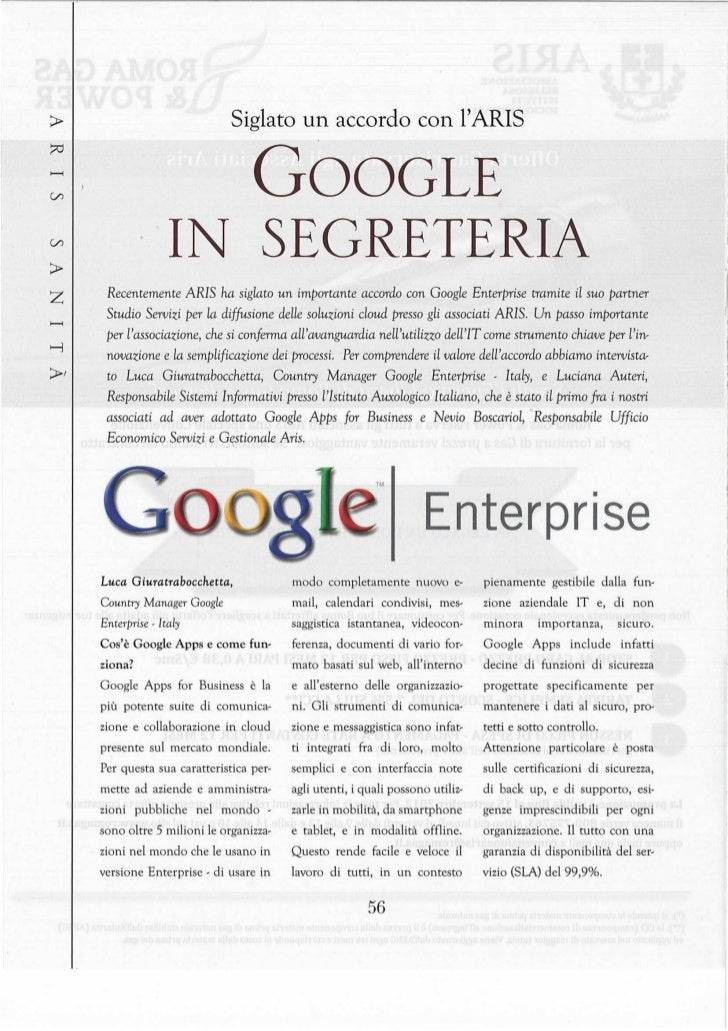 Aris Sanità Numero 2 Settembre 2012 Servizi Google Enterprises