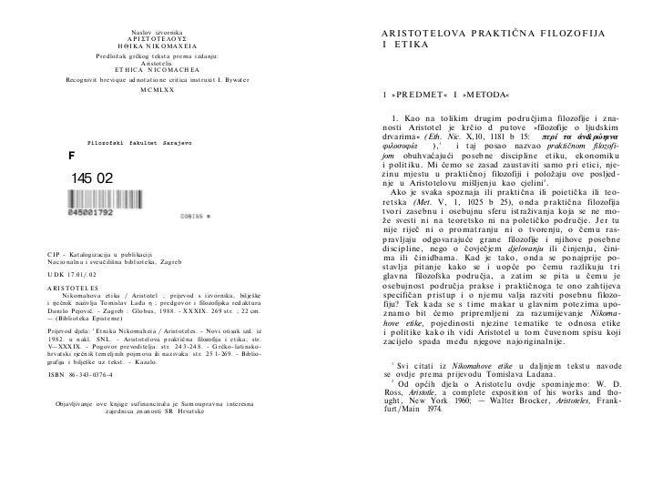 Naslov izvornika                                        ARISTOTELOVA PRAKTIČNA FILOZOFIJA                             ΑΡΙΣ...