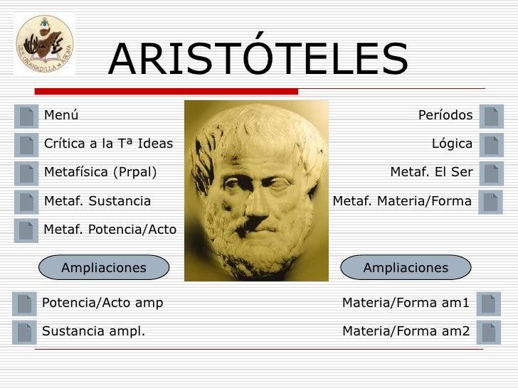 ARISTÓTELES Menú                                Períodos  Crítica a la Tª Ideas                 Lógica  Metafísica (Prpal)...