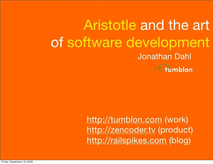 Aristotle and the art                              of software development                                                ...
