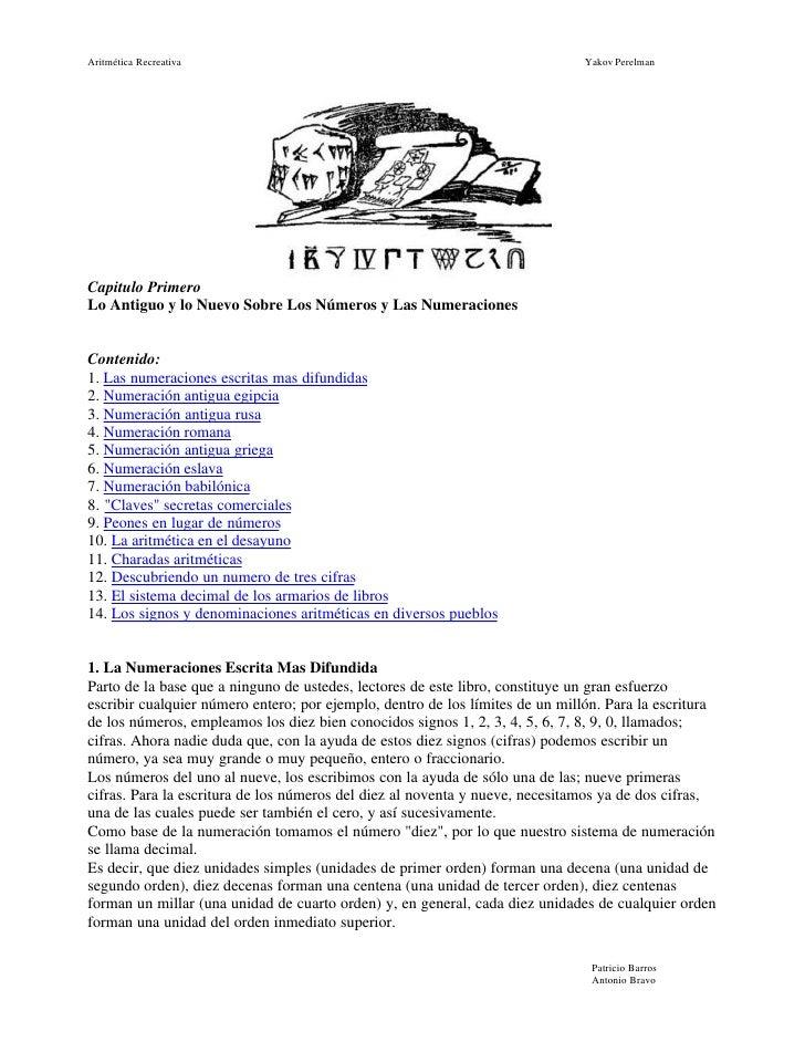Aritmética Recreativa                                                          Yakov Perelman     Capitulo Primero Lo Anti...