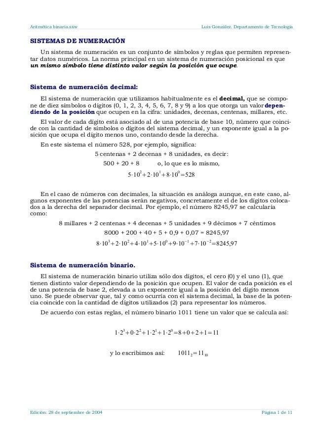 Aritmética binaria.sxw Luis González. Departamento de Tecnología SISTEMAS DE NUMERACIÓN Un sistema de numeración es un con...