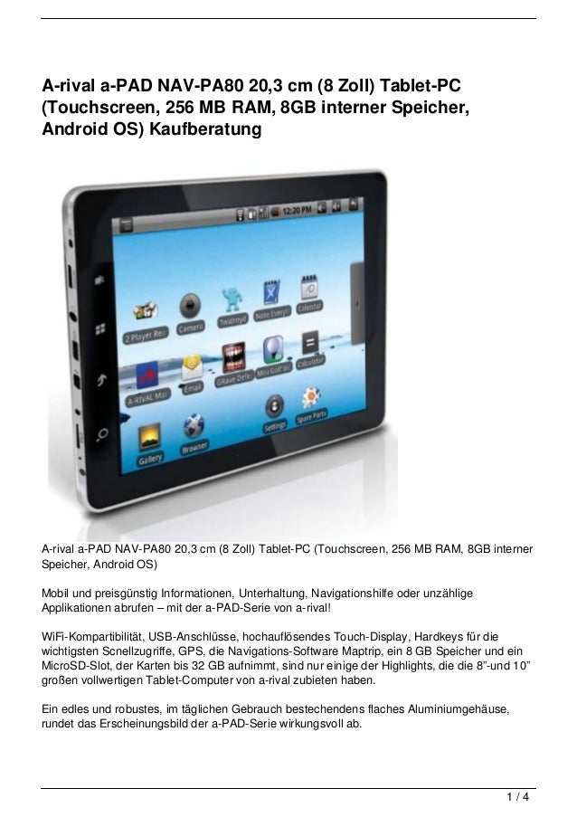 A-rival a-PAD NAV-PA80 20,3 cm (8 Zoll) Tablet-PC(Touchscreen, 256 MB RAM, 8GB interner Speicher,Android OS) KaufberatungA...