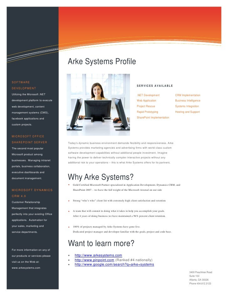 Information Technology Solutions                                          Arke Systems Profile  SOFTWARE                  ...