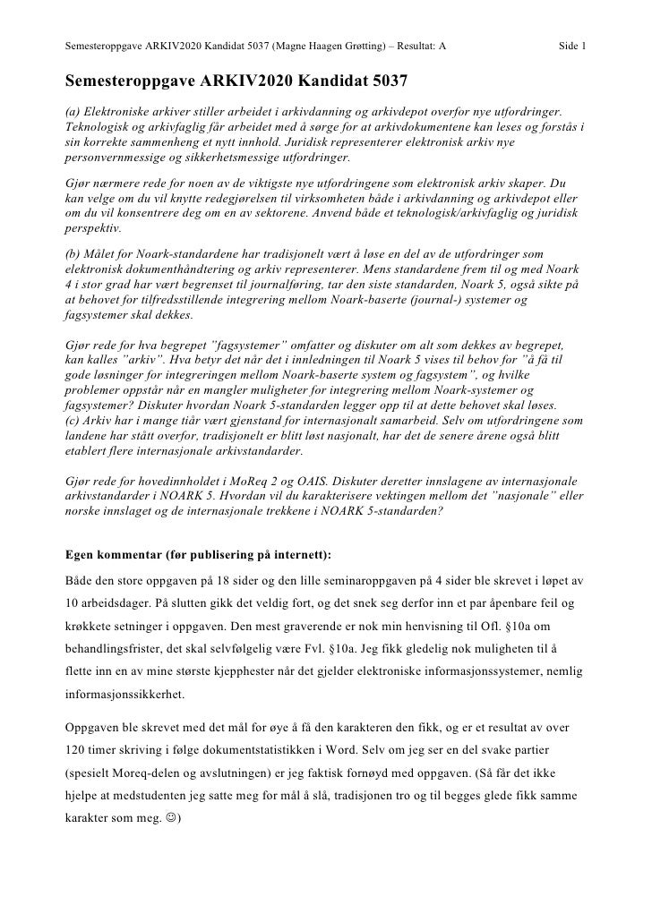 Semesteroppgave ARKIV2020 Kandidat 5037 (Magne Haagen Grøtting) – Resultat: A                      Side 1   Semesteroppgav...