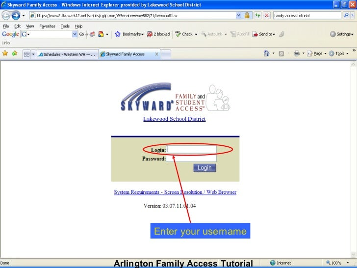 Lakewood School District Enter your username Arlington Family Access Tutorial