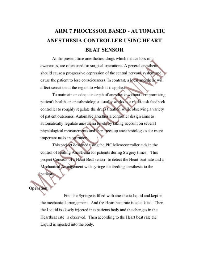 ARM PROJECTS LIST&ABSTRACT-  automatic anesthesia controller using heart beat sensor