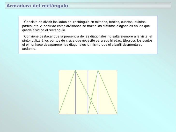 Consiste en dividir los lados del rectángulo en mitades, tercios, cuartos, quintas partes, etc. A partir de estas division...