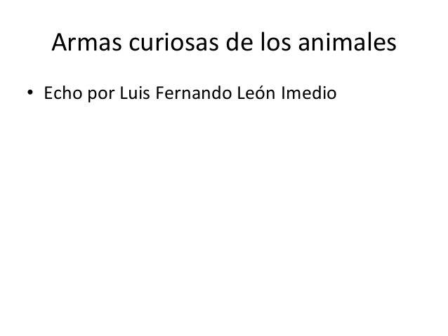 Armas curiosas de los animales• Echo por Luis Fernando León Imedio