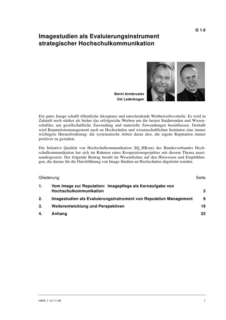 G 1.6Imagestudien als Evaluierungsinstrumentstrategischer Hochschulkommunikation                                          ...