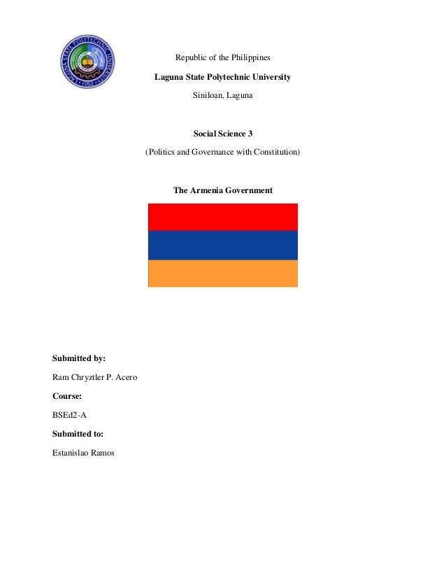 Republic of the Philippines Laguna State Polytechnic University Siniloan, Laguna  Social Science 3 (Politics and Governanc...