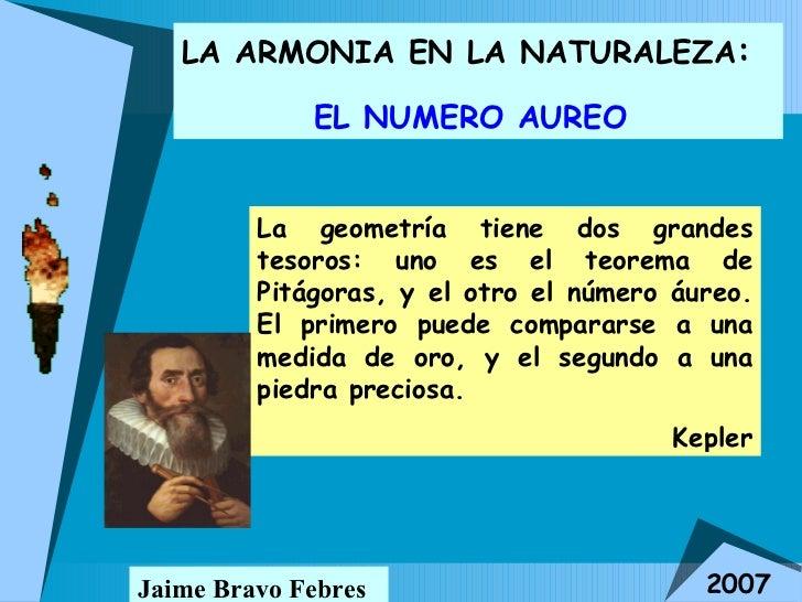 LA ARMONIA EN LA NATURALEZA :  EL NUMERO AUREO   Jaime Bravo Febres 2007 La geometría tiene dos grandes tesoros: uno es el...