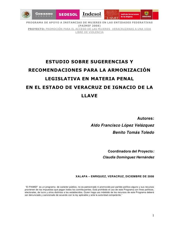 PROGRAMA DE APOYO A INSTANCIAS DE MUJERES EN LAS ENTIDADES FEDERATIVAS                                (PAIMEF 2008)  PROYE...