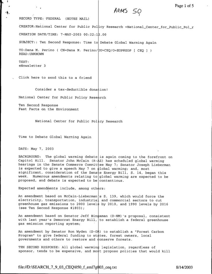 PagelIof 5     RECORD TYPE: 'FEDERAL   (NOTES MAIL)     CREATOR:National Center for Public Pol cy Research <NationalCenter...