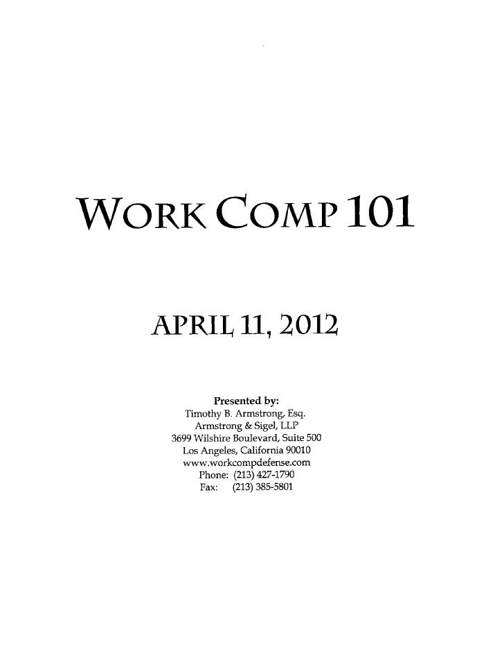 Workers Compensation 101