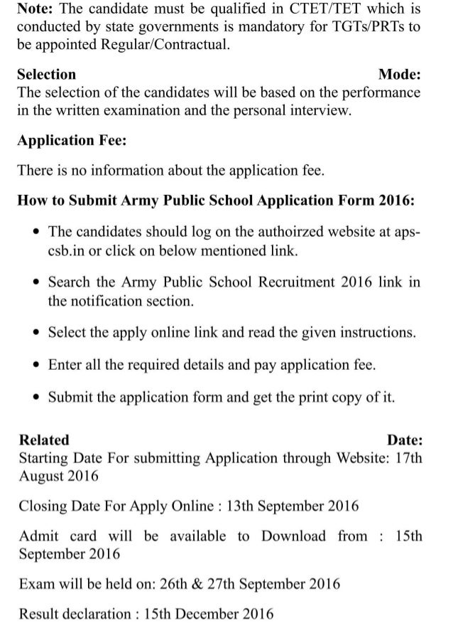 Army public school govt jobs recruitment 2016 latest 8000 pgt,tgt,prt posts results