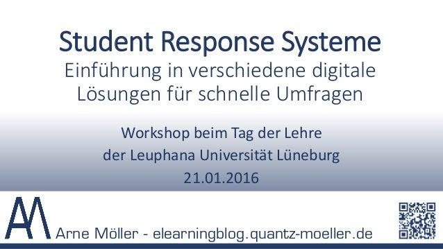Student Response Systeme Einführung in verschiedene digitale Lösungen für schnelle Umfragen Workshop beim Tag der Lehre de...